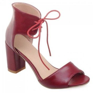 Fashionable Lace-Up and Chunky Heel Design Sandals For Women - Wine Red 39