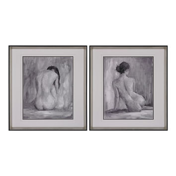 Figure In Black And White I And Ii - Fine Art Print Under Glass 