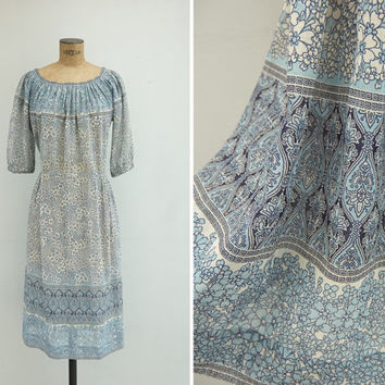 1970s Dress - Vintage 70s Blue Floral Dress - San Antonio Dress