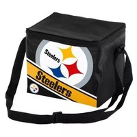 NFL Pittsburgh Steelers Big Logo Striped 6 pack Cooler Lunch Box Bag Insulated