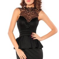 Dear-Lover Women Hollow-out Back Peplum Party Dress Medium Size Black