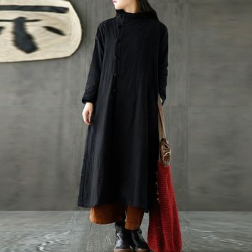 Trendy M-5XL ZANZEA Spring Women Cotton Linen Turtleneck Long Sleeve Long Coat Pockets Buttons Loose Jacket Solid Kaftan Vestido Plus AT_94_13