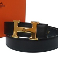 AUTHENTIC HERMES H belt constant Black Box Scarf □B 0195
