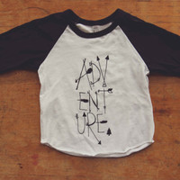 Black and White ADVENTURE Baby Baseball Tee
