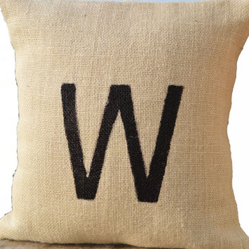 Monogram Pillow -Burlap Monogrammed Pillow -Customized Painted Letter Pillow -Ivory Throw Pillow -Personalized Cushion - Gift Pillows -18x18