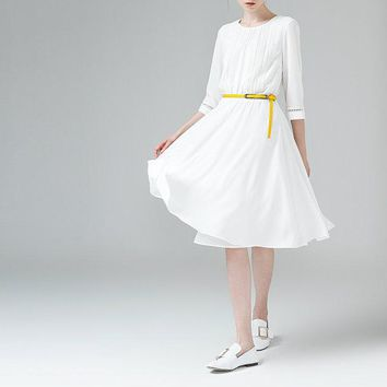 Ladies Pleated Dress White