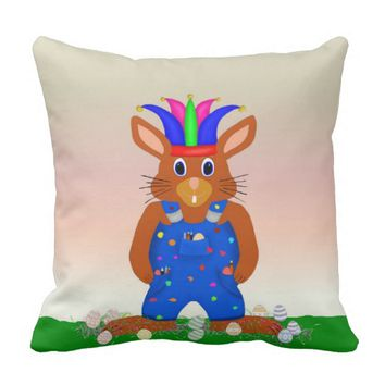 Easter Bunny Fool Throw Pillow