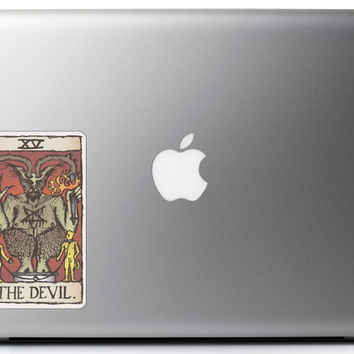 The Devil Tarot Card Fortune Telling Full Color - Vinyl Decal for Macbook Laptop Tattoo Love Glitter Sticker Window Car