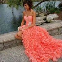 New Beading ruffles Long coral Prom dress Evening Party Homecoming Ball Gown
