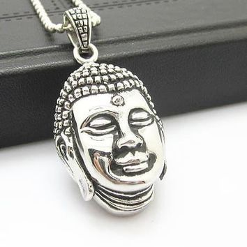 Silver Stainless Steel Buddha Pendant Chain Necklace