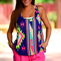 Aztec Party Tank, Dark Blue