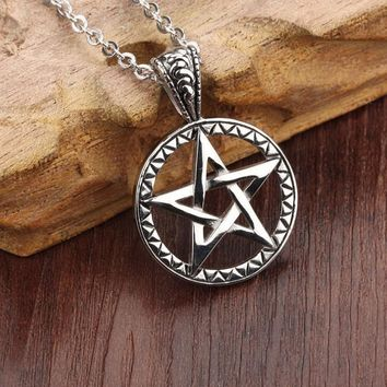 Stainless Steel Five Point Star Pentagram Pendant Necklace