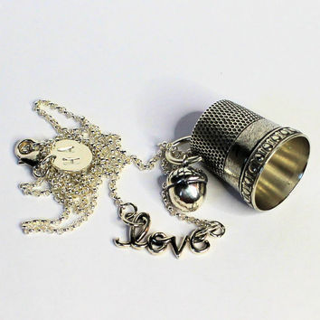 Antique Thimble Love and Kisses Necklace Peter Pan and Wendy Sterling Silver