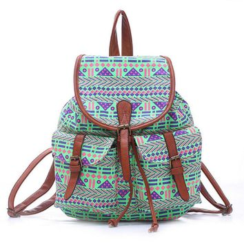 women s large canvas ethnic aztec daypack backpack travel bag 2