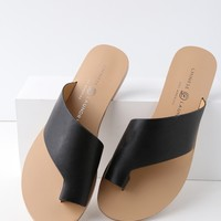 Glory Black Slide Sandals