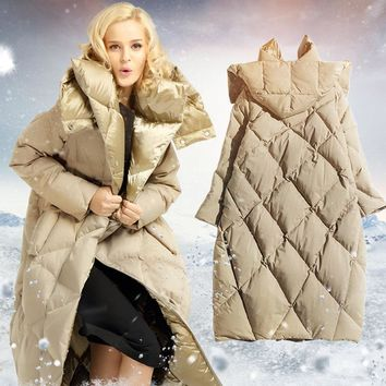 New Winter Cocoon Type Hooded Down Jacket Women White Goose Down Coat Jacket Warm Long