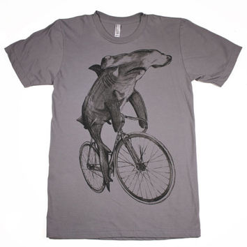 Mens Hammerhead Shark on a BICYCLE SHIRT - American Apparel T Shirt xs s m l xl xxl (custom colors available)