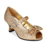 Little Angel BI28 Glitter Leatherette Bow Jewel Mary Jane Kitten Heel Pump (Toddler/ Little Girl/ Big Girl) - Champagne