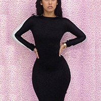 Black and White Cut-Out Back Long Sleeve Bodycon Dress