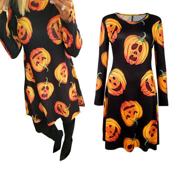 Pumpkin Printed Black Mini Dress
