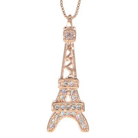 Dear Deer Rose Gold Plated Cubic Zirconia Paris Eiffel Tower Pendant Necklace