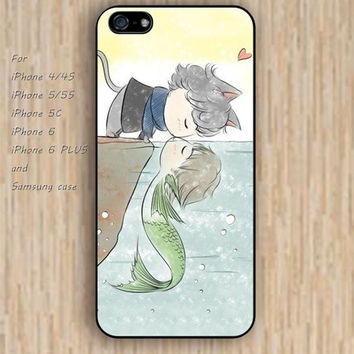 iPhone 6 case dream cat kiss fish case cartoon iphone case,ipod case,samsung galaxy case available plastic rubber case waterproof B153