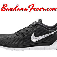 "Nike ""Bling"" Free 5.0 2015 Women's Black/Dark Grey Swoosh by Bandana Fever"