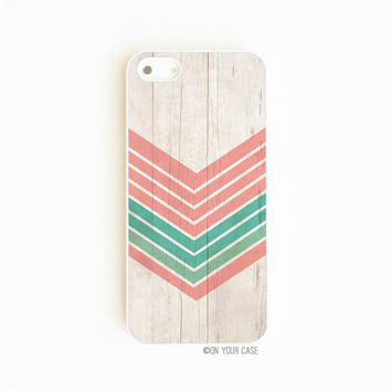 iPhone 5 Case Wood Grain Geometric Chevron Mint by onyourcasestore