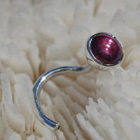 TOURMALINE (Rubellite/deep pink) nose stud (4mm)