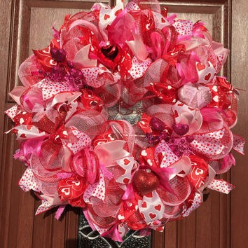 Valentine Deco Mesh Wreath, Pink Red Valentine Wreath, Valentine Decor, Pink Heart Valentines Day Wreath