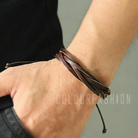 Christmas Gift, Brown leather bracelet, Cool Fashion Multilayer Weaved Brown Leather cuff, Wrap Bracelet