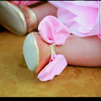 Gold Moccasins with Big Bow,  Choose Pink or Any Custom Color You Need
