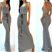 Sleeveless White Striped Dress