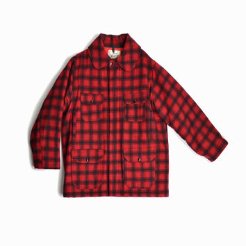 Vintage Woolrich Classic Wool Hunt Coat in Red Plaid / Wool Field Coat / Woolrich Heritage - men's XL