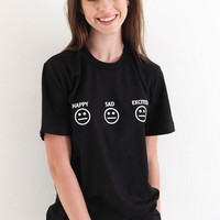 Happy Sad Excited Smiley Tee - Black