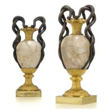 A PAIR OF LATE LOUIS XVI PATINATED-BRONZE AND ORMOLU-MOUNTED ALABASTER VASES, CIRCA 1790-1800