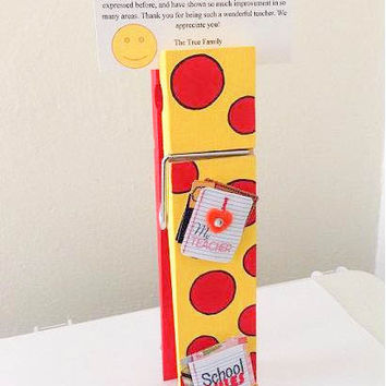 Hand Painted Red and Yellow Polka Dots Decorative Teacher Wooden Jumbo Clothespin Photo Holder Notes Holder Business Card Holder