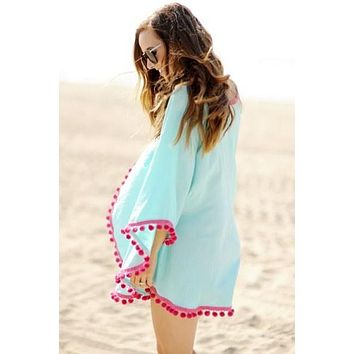Blue Pom Pom Beach Cover-Up
