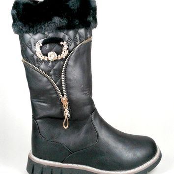 Women's Black Boots with Faux Fur and Buckle Detail