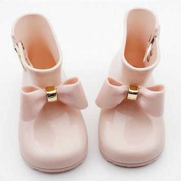New Kids boots baby girls Rain Boots butterfly-knot kids Rainboots Fashion Rubber Shoes Toddler Kids Jelly shoes pink