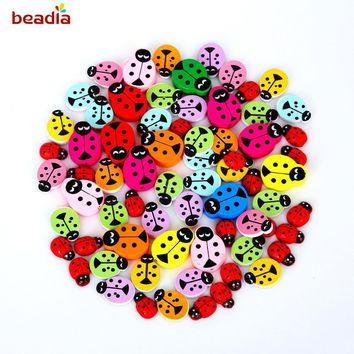 50pcs Size 9-20mm Wood Sewing Button Beads Ladybug Mixed/Red Beads For Sewing Accessories DIY Craft Scrapbooking Making