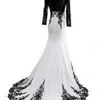 Sunvary White and Black Long Sleeves Mermaid Mother of the Bride Groom Dresses Formal Prom Gowns - US Size 2