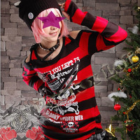 Cyber Goth Punk Rock Clothing Red and Black Long Sweater SKU-11411005