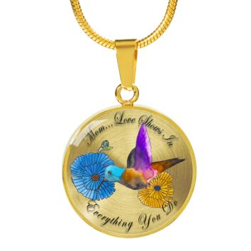 Mom Love Shows In Everything You Do Hummingbird Circle Necklace and Bracelet