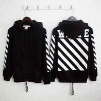 OFF-WHITE Long-Sleeved Letter Printing Hooded Sweater