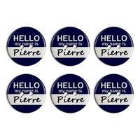 Pierre Hello My Name Is Plastic Resin Button Set of 6