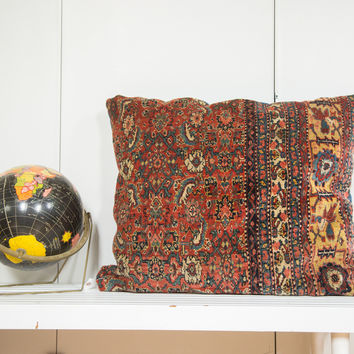 Antique Bijar Floor Pillow