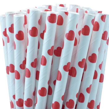 Red Hearts Paper Straws - set of 25