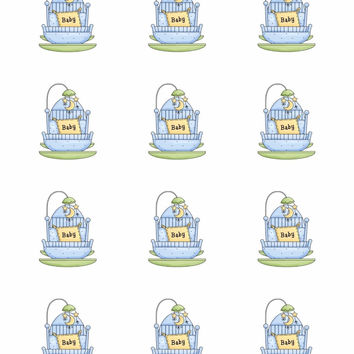 12 Baby Boy Shower Collection Edible Rice Wafer Paper Cupcake Topper
