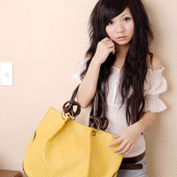 Simple Loops Buckled Leather Tote Bag Yellow, Buy Simple Loops Buckled Leather Tote Bag Yellow with cheapest price|wholesale-dress.net